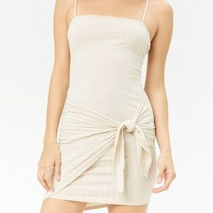 Tie front ribbed mini dress